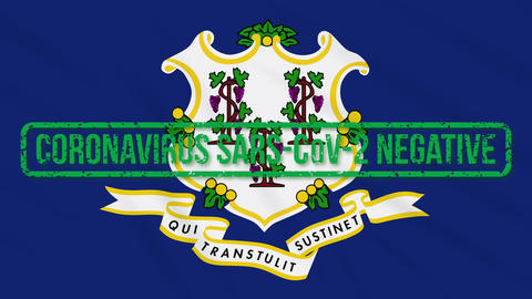 Connecticut US state swaying flag with green stamp of freedom from coronavirus Animation
