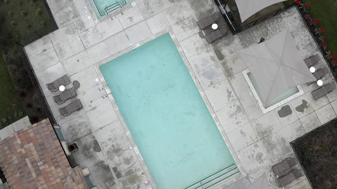 Los Angeles community pool shut due to coronavirus COVID-19 lockdown, aerial Live Action