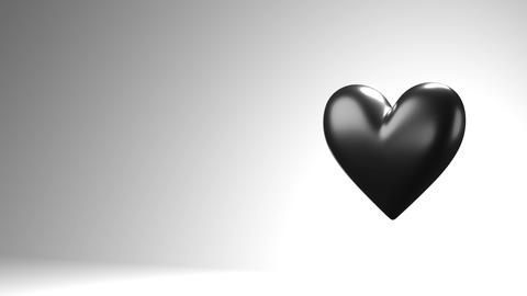 Black broken heart objects in white text space Animation