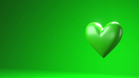 Green broken heart objects in green text space Animation