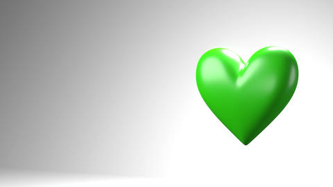 Green broken heart objects in white text space Animation