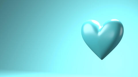 Pale blue broken heart objects in pale blue text space Animation