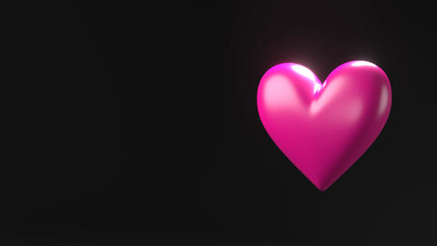 Pink broken heart objects in black text space Animation