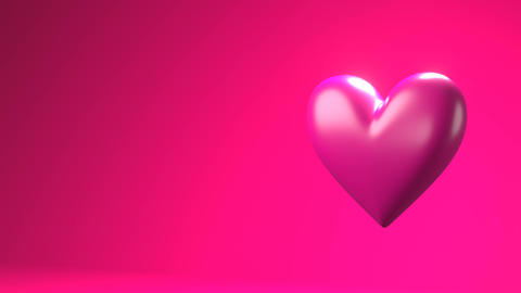 Pink broken heart objects in pink text space Animation