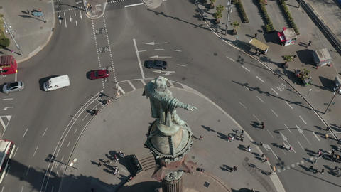 AERIAL: Close up of Columbus Monument in Barcelona, Spain on Beautiful Sunny Day Live Action