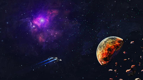 Space background. Spaceship fly in colorful nebula with cracked planet. Elements furnished by NASA. Animation