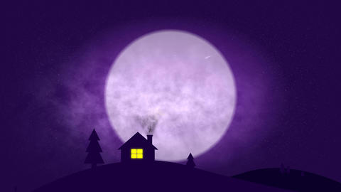 House in night pop up style - 4k Animation