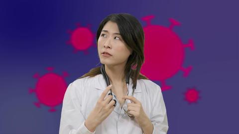 Corona Asian female doctor thinking over having aha moment on Green Screen Live影片