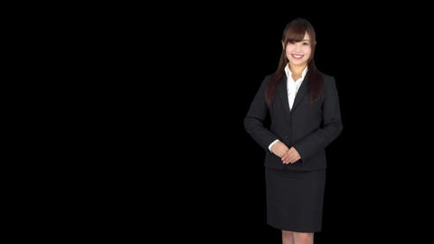 Young Japanese business woman welcomes Footage