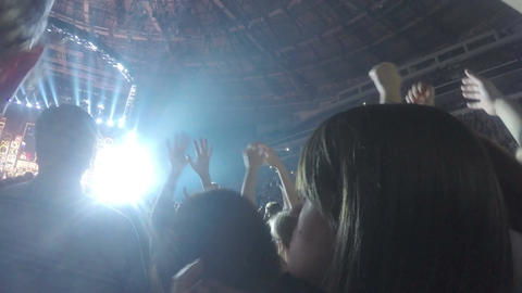 Fans of famous musician enjoying concert, sing favorite song together, applause Footage