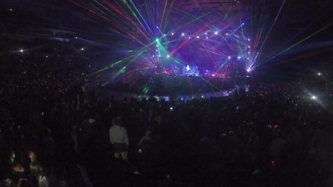 Performance of popular singer. Huge crowd of fans enjoying fantastic music show Footage