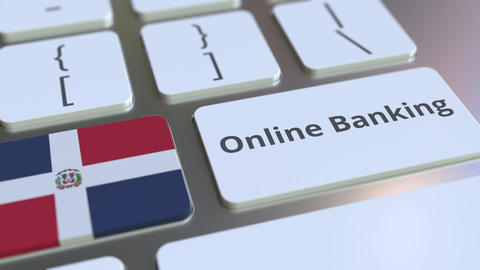 Online Banking text and flag of the Dominican Republic on the keyboard. Internet Live Action