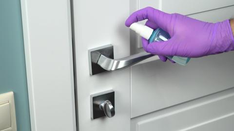 Coronavirus Home Hygiene. Door handle wash Live Action
