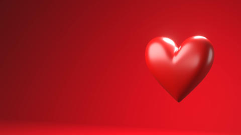Red broken heart objects in red text space Animation