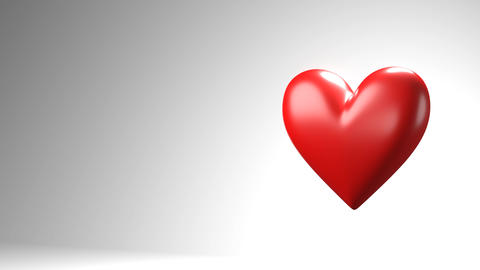 Red broken heart objects in white text space Animation