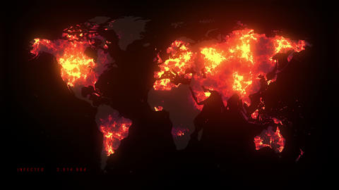 Virus Spread on the map 4k Animation