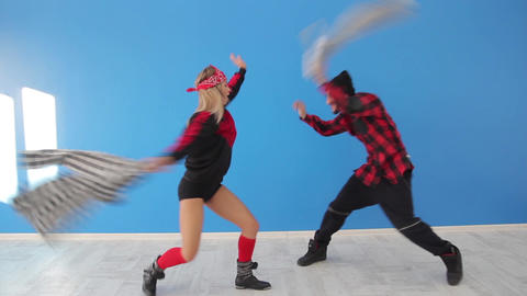 Dancers dance a fun dance and make fun Live Action