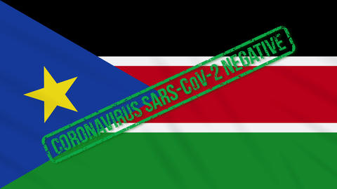 South Sudan swaying flag with green stamp of freedom from coronavirus, loop Animation
