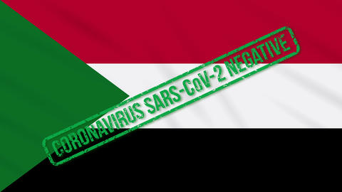 Sudan swaying flag with green stamp of freedom from coronavirus, loop Animation