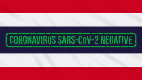 Thailand swaying flag with green stamp of freedom from coronavirus, loop Animation