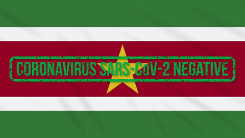 Suriname swaying flag with green stamp of freedom from coronavirus, loop Animation
