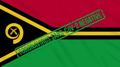 Vanatu swaying flag with green stamp of freedom from coronavirus, loop Animation