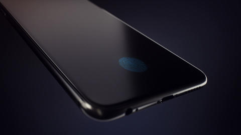 Unlocking a smartphone by fingerprint scanning. 3d smartphone with a blue Animation