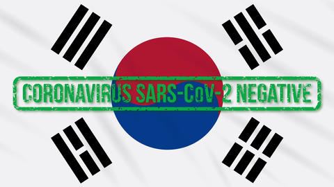 South Korea swaying flag with green stamp of freedom from coronavirus, loop Animation