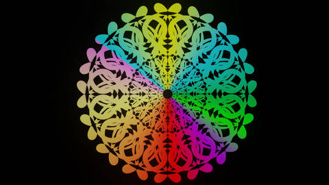Live rainbow mandala, circle mandala with animated colors in vivid design Animation