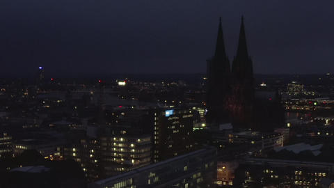 AERIAL: Wide Shot of Cologne Germany from the air with majestic Cathedral at Live Action
