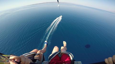 Amazing Adriatic vacation holiday honeymoon in Croatia destination. Parasailing over Adriatic sea Live Action