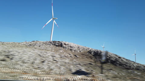 Istanbul, Turkey, 2nd of Feb 2020, use of wind turbine and wind farm as renewable & clean energy in Live Action