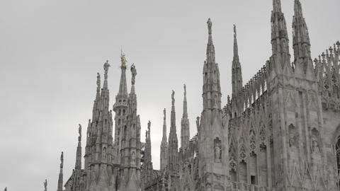 7 Art Monument With Detail Of Duomo Cathedral Milan Italy Live Action
