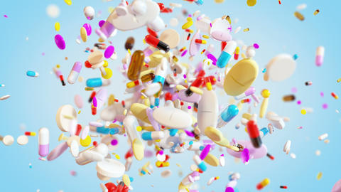 Group of Medical Pills explodes in slow motion in 4K GIF