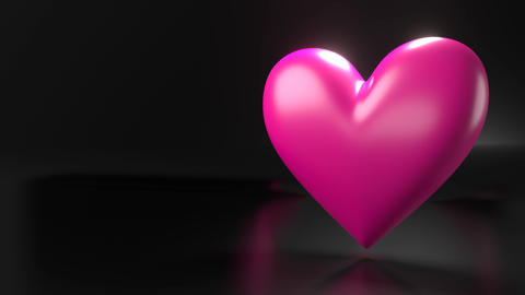 Pulsing pink heart shape object on black text space Animation