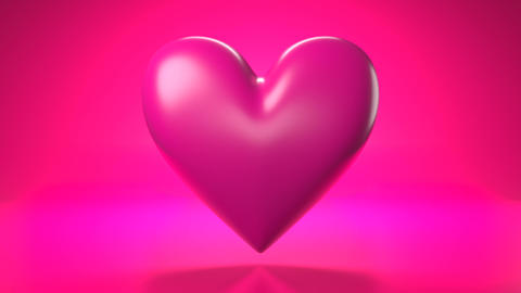 Pulsing pink heart shape object on pink background Animation