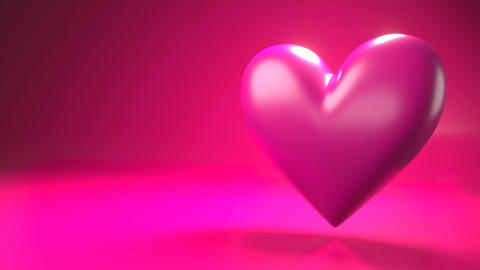 Pulsing pink heart shape object on pink text space Animation