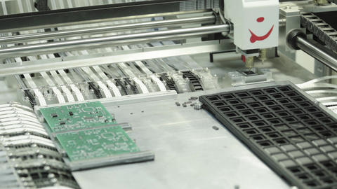 Production of electronic board. Close-up Live Action