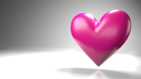 Pulsing pink heart shape object on white text space Animation