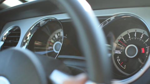 Close up of Speedometer in Ford Mustang Muscle Car Driving, Sunshine Live Action
