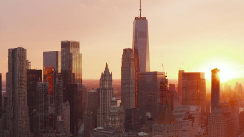 AERIAL: Beautiful Sunset vibe in Manhattan Skyline in New York City beautiful Live Action