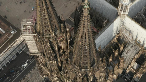 AERIAL: Overhead View of Cologne Cathedral in beautiful Sunlight Live Action