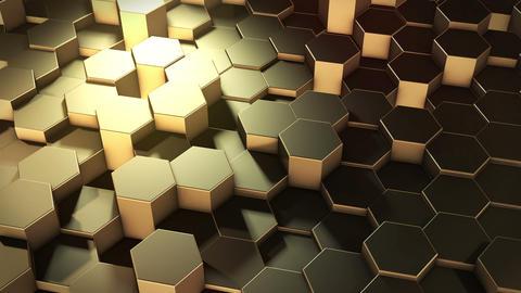 Hexagonal geometric golden surface Animation