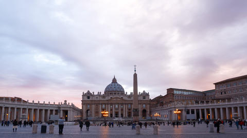 St. Peter's Basilica. Evening. Zoom. TimeLapse. Vatican. Rome, Italy Footage