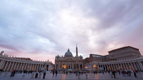 Piazza San Pietro, morning. Vatican. TimeLapse, Rome, Italy Footage