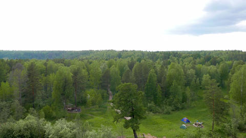 View from the Bridge of karst. The park Deer Streams, Russia Live Action