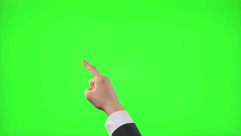Young businessman making 12 touch screen hand gestures on green screen Footage