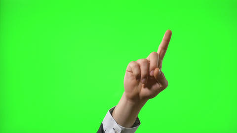 Businessman making 10 touch screen hand gestures on green screen for transparent Footage