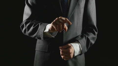 Young businessman making hand gestures in a virtual business environment Footage