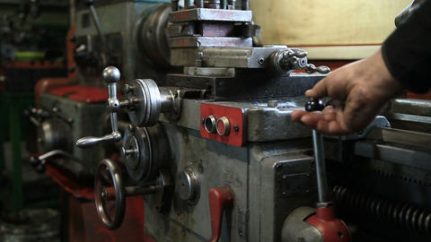 Lathe turning machine getting ready to work Footage